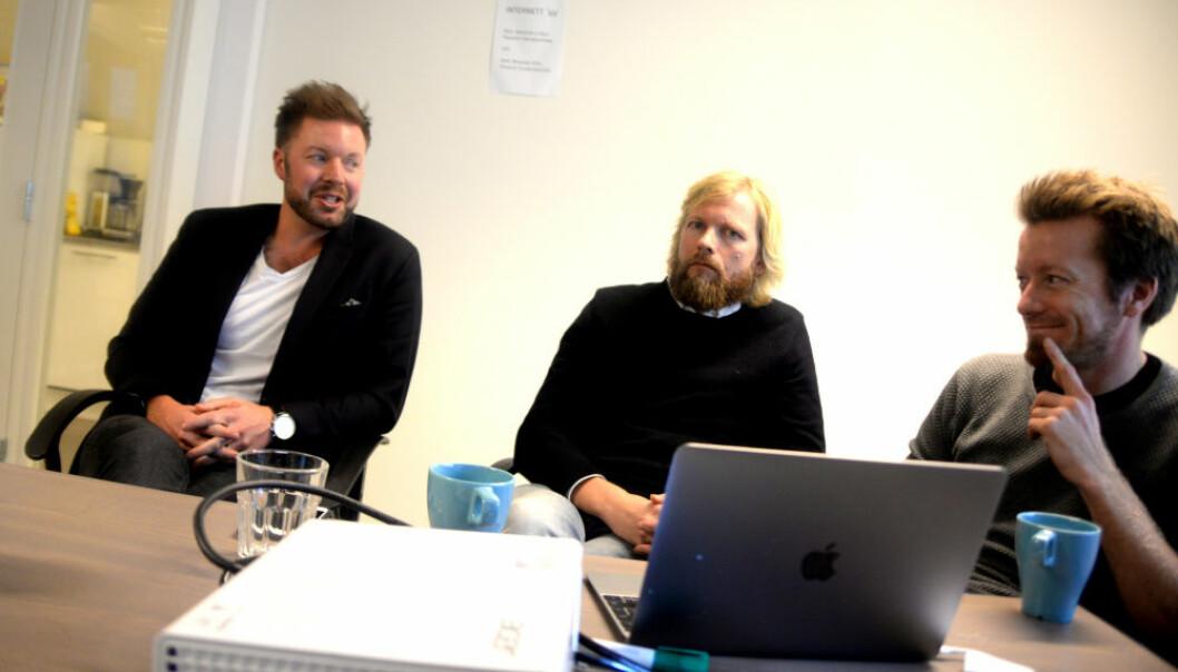 VIL BYGGE VIDERE: Filter Media sier de vil bygge Norges neste nyhetsnettsted. Fra venstre: Styreleder og investor Even Aas-Eng, publisher Lars Eide og investor Preben Carlsen. FOTO : Gard L. Michalsen