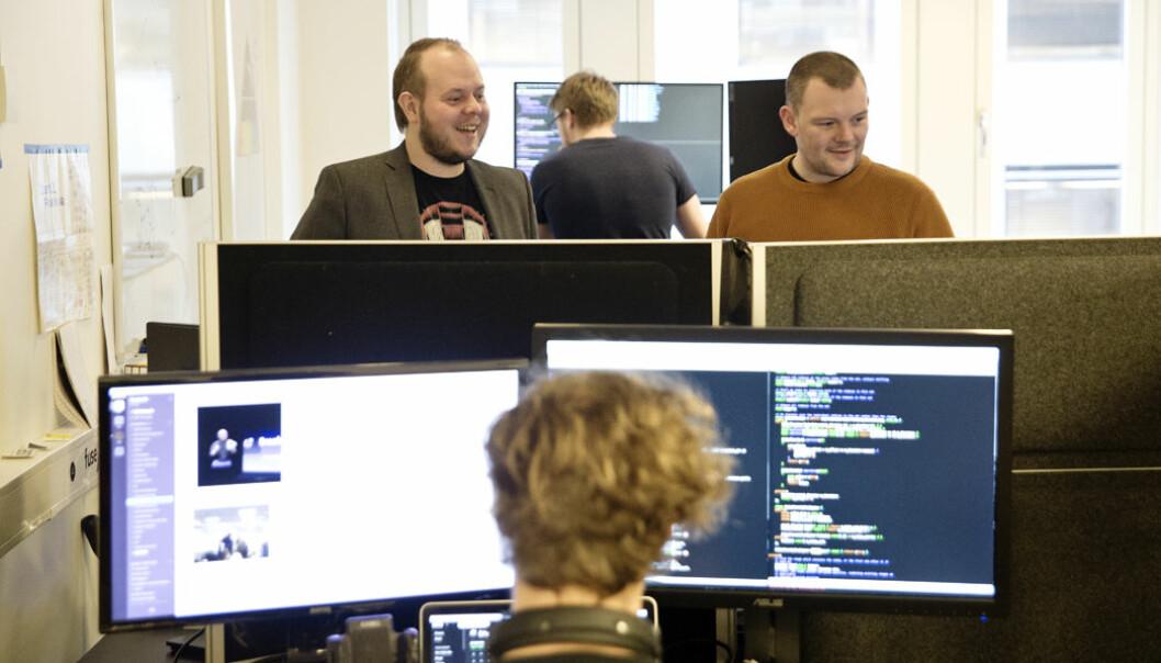 Bent Stamnes og Remi Pedersen i Fuse da selskapet hadde fått inn 100 millioner kroner i investeringer tidligere i år. Foto: Per-Ivar Nikolaisen