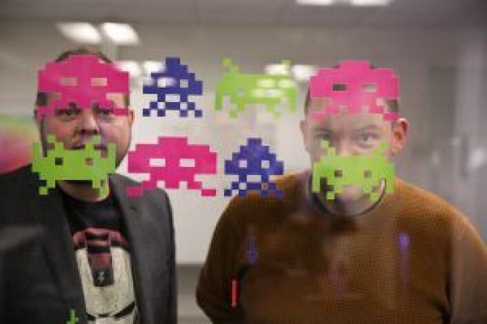 Spaceinvaders. Markedssjef Bent Stamnes og produktsjef Remi Pedersen i Fuse. Foto: Per-Ivar Nikolaisen