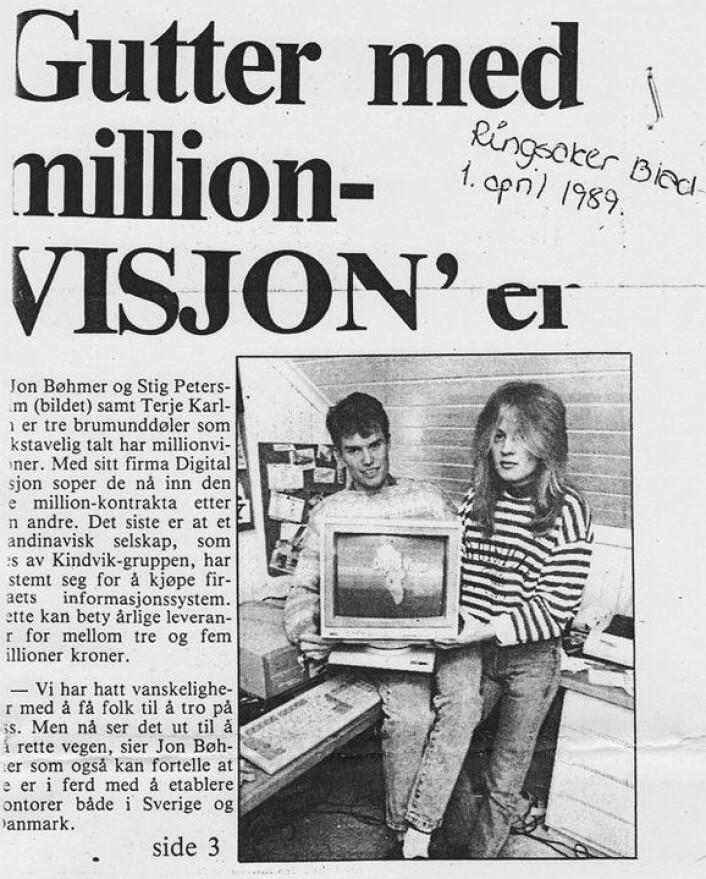 Jon Bøhmer og kameraten i lokalavisa Ringsaker Blad på 80-tallet, da de skulle erobre verden.