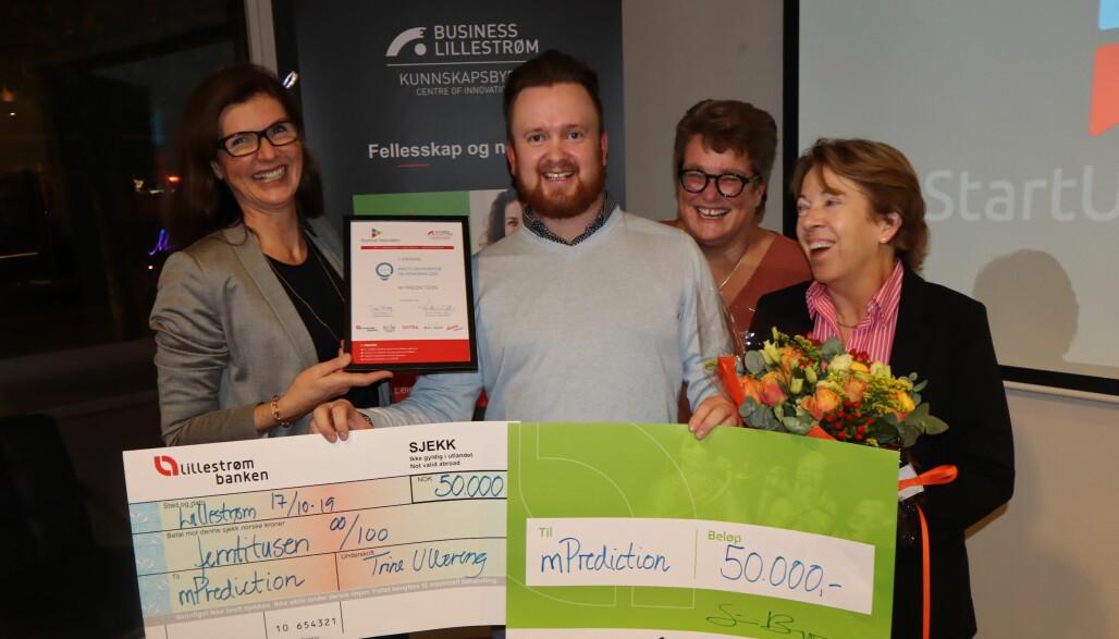 mPrediction og Andreas Orfjell vant prisen Årets gründeridé 2019 og ble i tillegg tildelt Lillestrømbankens gründerstipend av Siri Berggreen, Trine Ullereng og Anne Wood.