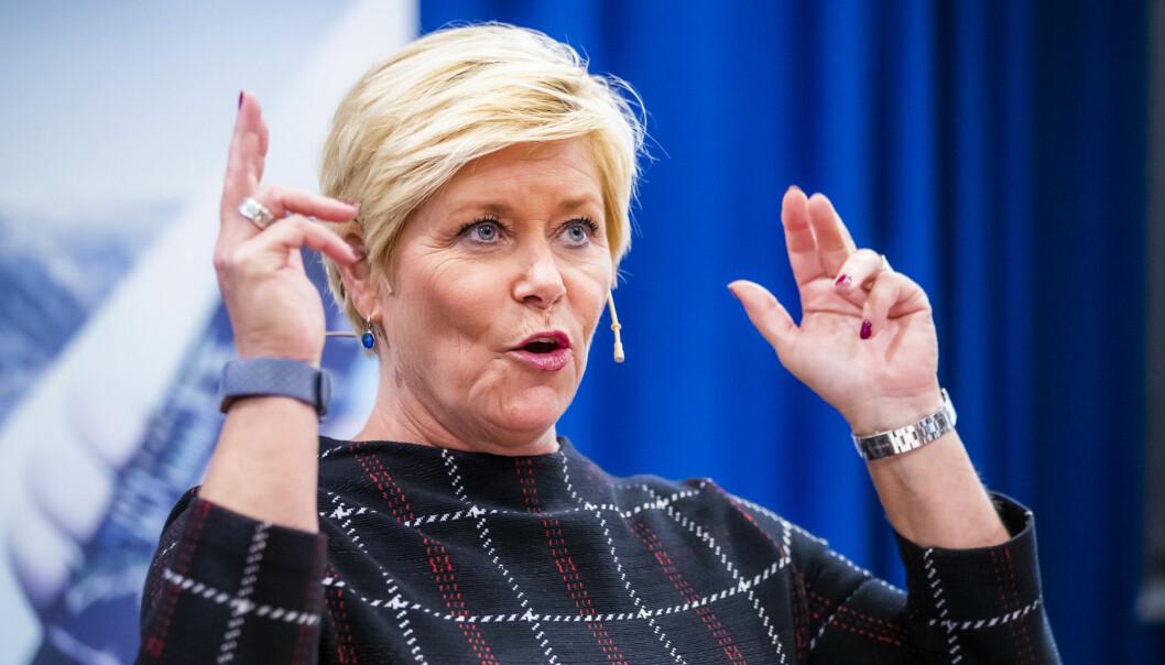 Finansdepartementet, her ved finansminister Siv Jensen (Frp), har kommet med nye Skattefunn-instrukser.