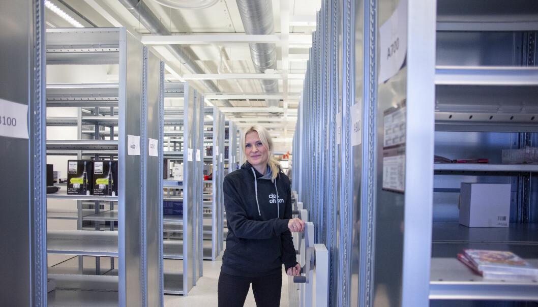 Norge-sjef Stine Trygg-Hauger på Clas Ohlsons nye lager på Slependen.