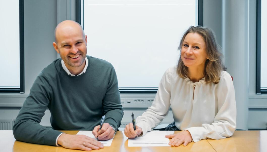 Styreleder Anders Kvåle i Spacemaker og konserndirektør Ida Aall Gram i AF Gruppen.