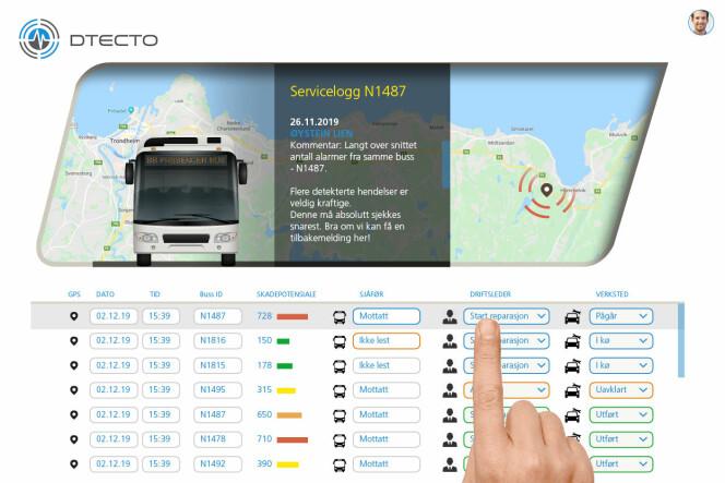 Busselskapet får beskjed om skader i et eget dashboard, der de også kan bestille reperasjon av ruta.