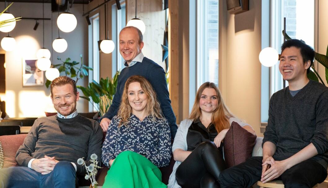 Læringsliv-teamet i Trondheim. Fra venstre: Sverre Konrad Nilsen (arbeidende styreleder), Andreas Amdahl Seim (daglig leder), Eva Amdahl Seim (UX), Ragnhild Fauchald (læringsleder) og Thanh Quyen Nguyen (utvikler).