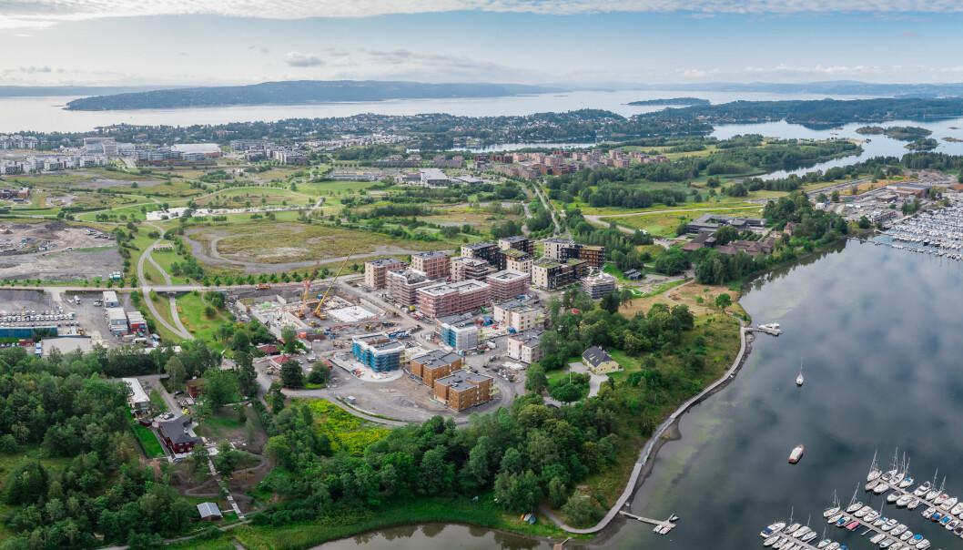 Dronefoto av Fornebulandet tatt i forbindelse med utbyggingen på Oksenøya for OBOS.