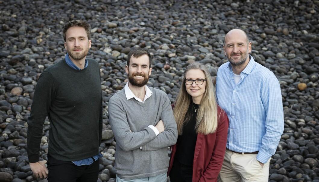 Teamet i Emerald Geomodelling holder til på StartupLab i Oslo. Fra venstre til høyre: Ronny Liverød, Craig Christensen, Guro Huun Skurdal og Andi A. Pfaffhuber.