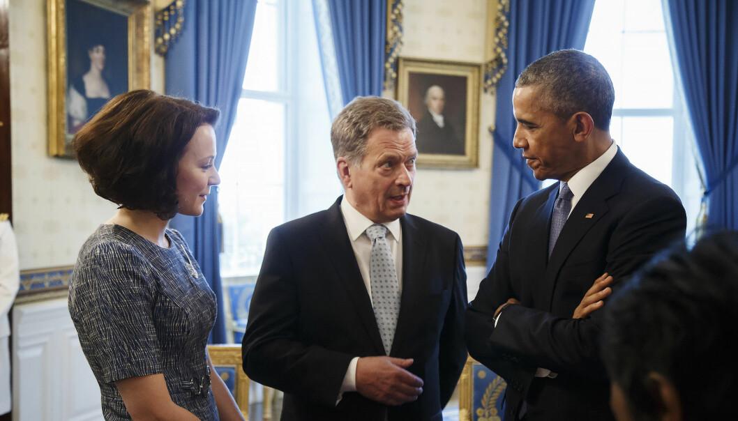 Sauli Niinistö og kona Jenni Haukio sammen med president Barack Obama under det nordiske toppmøte i Det hvite hus i Washington for tre år siden.