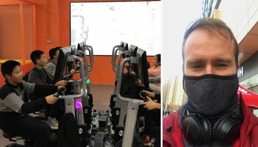Planen var at kinesiske barn skulle leke med de nyinstallerte gaming-syklene på kjøpesenteret i Nanchong. Nå er senteret stengt, og gründer Erling Magnus Solheim har dratt hjem.
