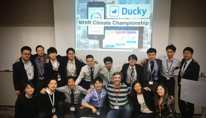 Gjengen hos Mizuho testet Duckys klimautfordringskampanje.