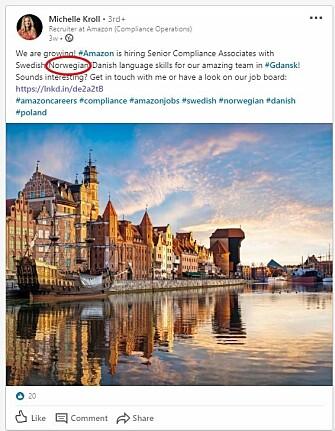 Amazon-rekrutterer Michelle Kroll leter etter norsk-, svensk-, og dansktalende til kontoret i Gdansk.