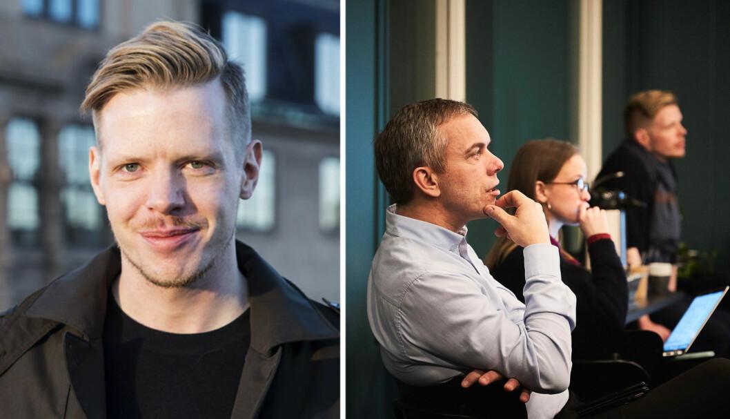 Thor Richard Isaksen (til venstre) , Alla Zaytseva og Håvard Belbo (til høyre) jobber i nye 6AM.