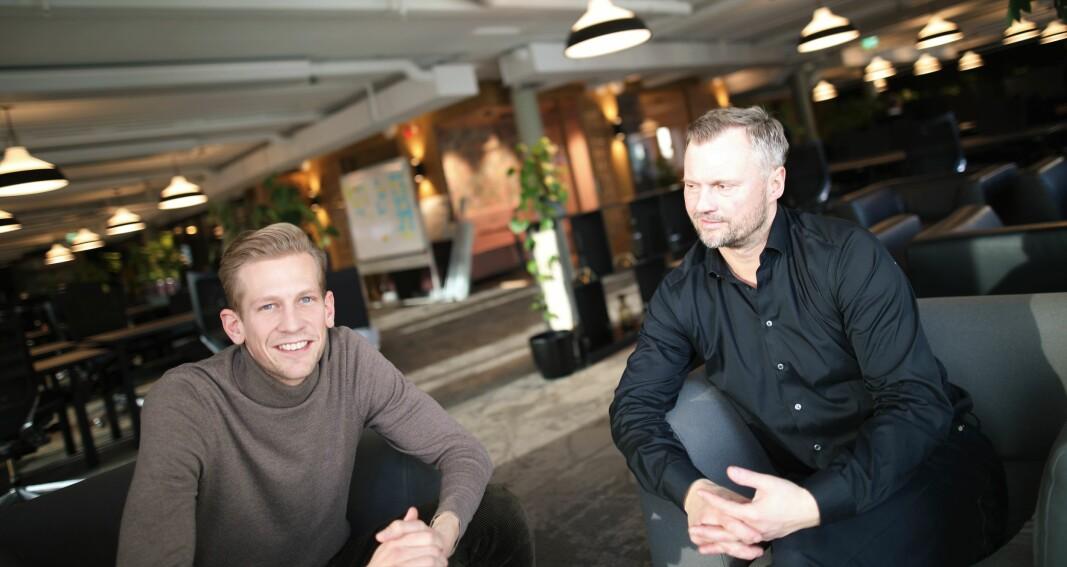 Daglig leder Espen Malmo og styreleder Preben Songe-Møller i Skyfall Ventures, som nå gjør sin første kryptoinvestering.