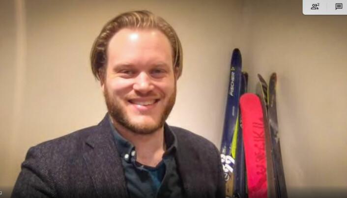 Magnus Wanberg på hjemmekontor i kjelleren på Vinderen, i anledning coronaviruset.