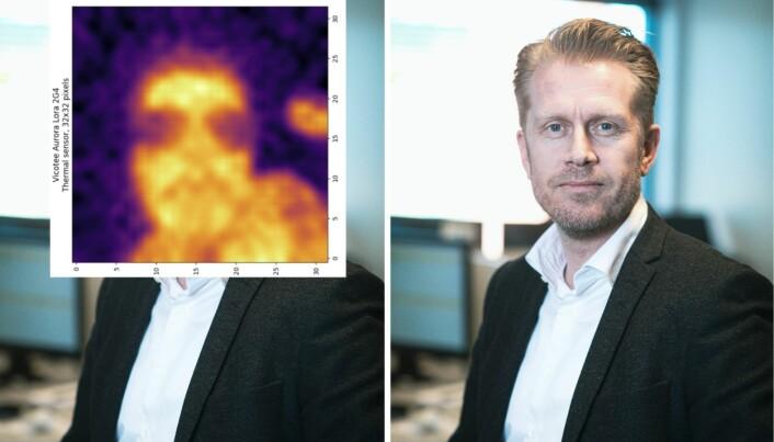 Richard Evje Pettersen er gründer og CTO i Vicotee. Denne uken publiserte selskapet et bilde av hvordan verktøyet illustrerer en feberfri Pettersen. Bildet er lagt over et pressefoto av gründeren, tatt på et tidligere tidspunkt, og de to har ingenting med hverandre å gjøre, ut over at de viser samme person.