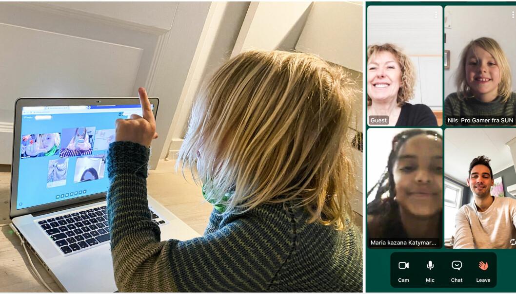 Shifter-gründer-barnet Nils har både lært mye, hengt med venner, og ikke minst hatt tegnekurs med bestemor og kusinen på Whereby.