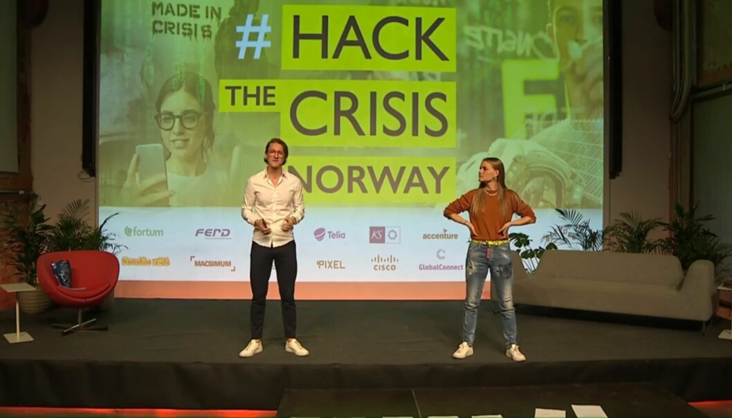 Matt Smith (The Lunicorn) og Yrja Oftedahl (Power Ladies) ledet direktesendinger på Facebook under den norske utgaven av Hack The Crisis.
