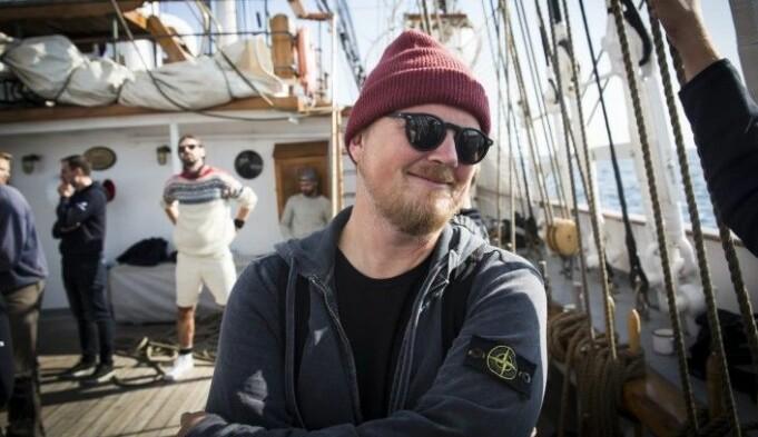 Bjarne Melbye i Tomorrow Today, her ombord på Christian Radich, under xVoyage. Arkivfoto: Per-Ivar Nikolaisen.