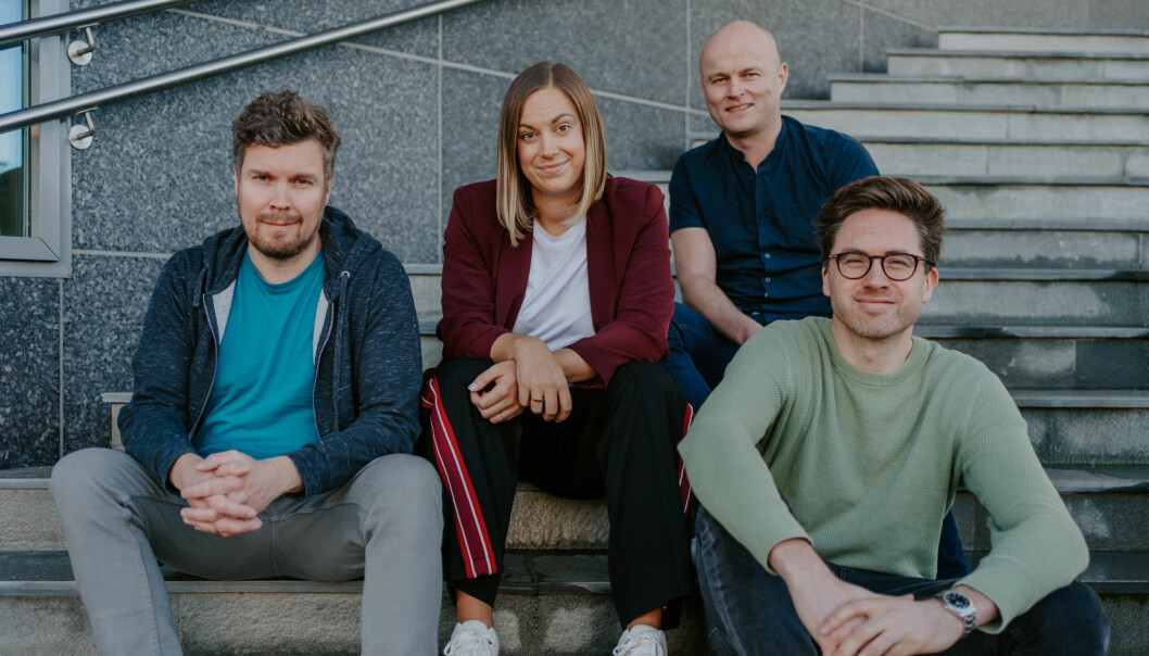 Teamet bak dealflow.no. Fra venstre: Håkon Leinan, Stine Sofie Grindheim, Ole Bernhard Larsen og Jens-Petter Tonning.
