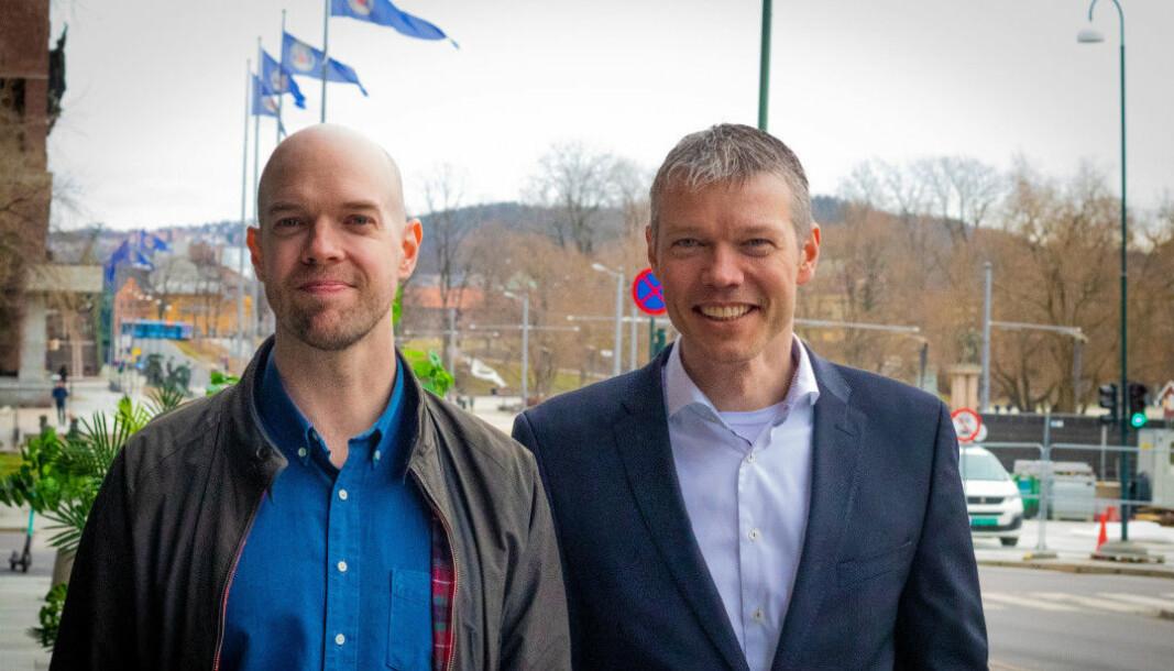 Gründer og CEO Stein Ove Eriksen og CFO Øystein Drageset i Huddly. Foto: Magnus Peter Harnes
