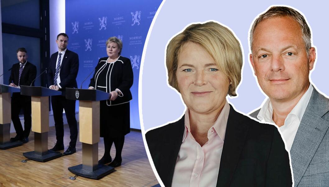 Øystein Eriksen Søreide og Eline Oftedal i Abelia mener regjeringen kan gjøre mye mer for å sikre vekst i norsk næringlsiv.