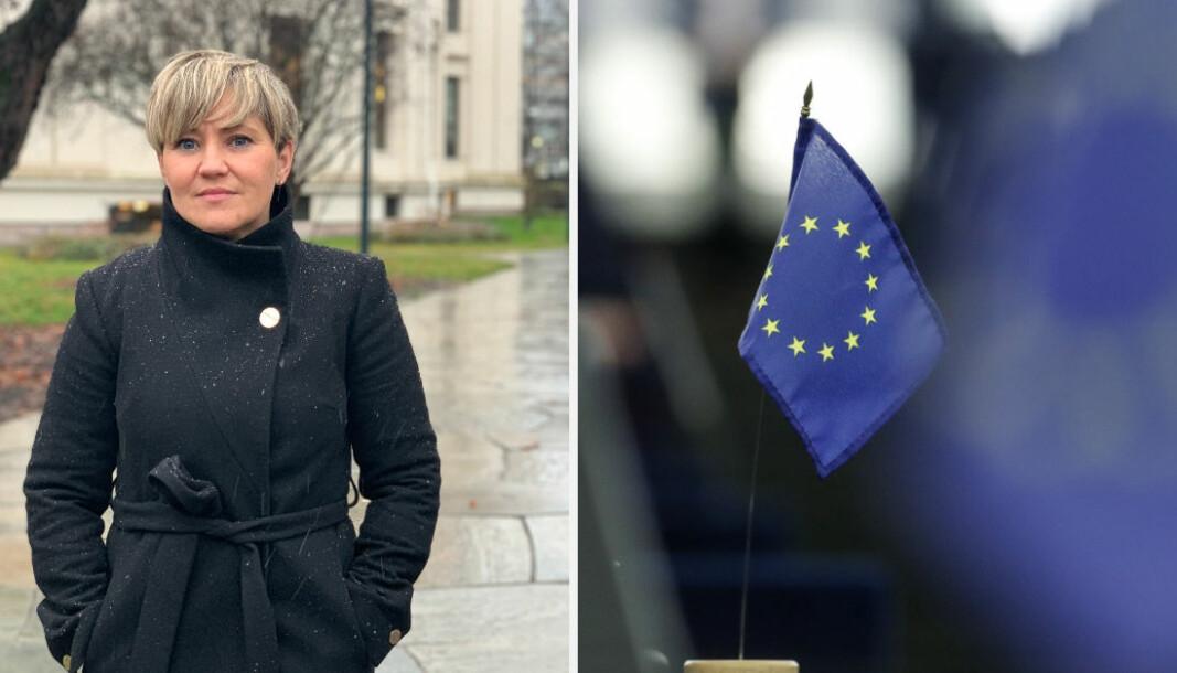 PSD2 (Revised Payment Services Directive) er den nyeste versjonen av EU-direktivet som regulerer betalingstjenester i EUs indre marked. Til venstre: Camilla Kamberg i NEW. Foto: AP Photo/Jean-Francois Badias