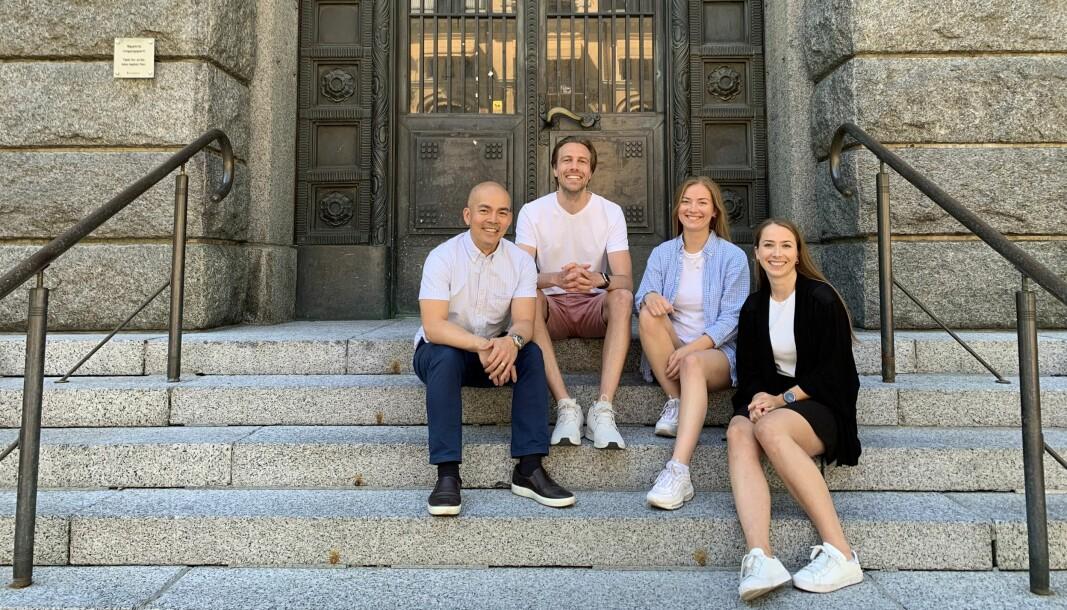Tim Nguyen (salgssjef), Axel Sjøstedt (daglig leder og medgründer), Kristine Wilhelmsen (forretningsutvikler) og Anja Kirkvik (prosjektleder).