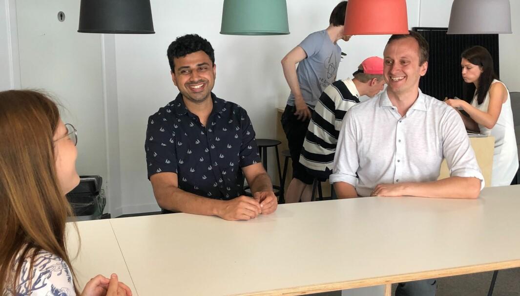 Fra venstre: Anastasia Buialo, Pranav Singh og Simen Fure Jørgensen.