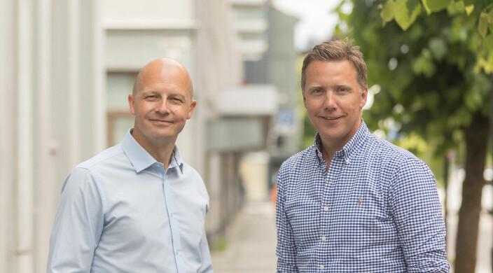 Pål Reinert Bredvei (t.v.) og styreleder Kjetil J. Olsen fikk ideen til Adminkit.