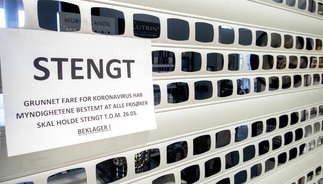 Trondheim 20200320.  Stengte frisørsalonger etter at myndighetene bestemte at alle frisører skal holde stengt t.o.m. 26. mars. Foto: Gorm Kallestad / NTB scanpix