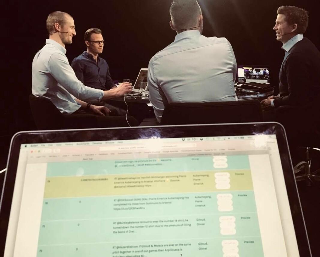 I syv timer satt Thor Richard sammen med kompisen i Premiere League-studioet.