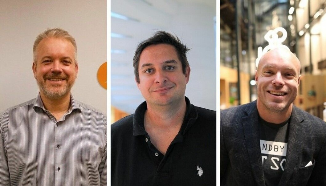 Eric Sandtrø i Fjellsport.no, Fredrik Tønnesen i Elkjøp og Frederik Aune Guttormsen i Netthandelsgruppen.