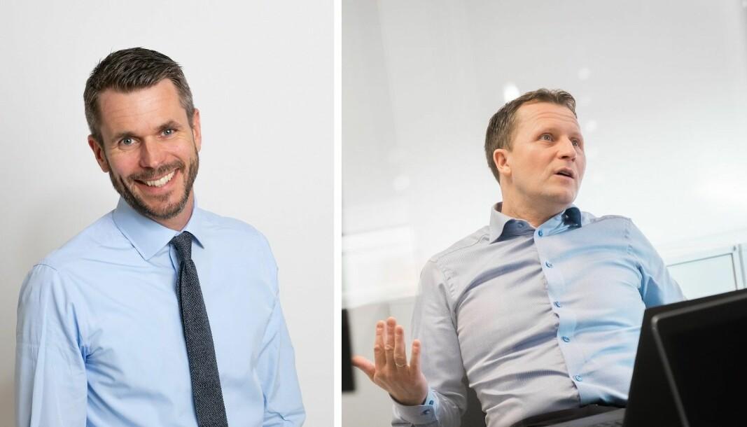 Investor Henrik Lie-Nielsen (t.v.) er styreleder i Stacc. Oddbjørn Berentsen, nåværende CEO i Easybank, blir sjef i Nye BRAbank etter fusjonen med Easybank.
