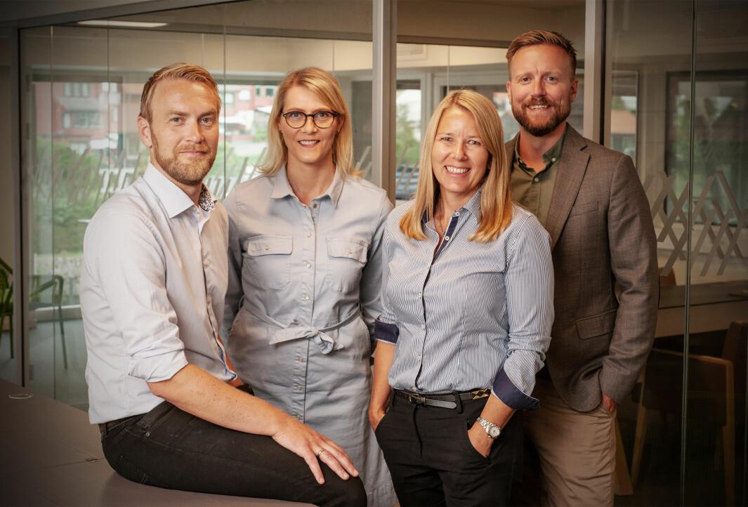 Gründer Jan Tore Grindheim, operasjonell leder Kine Lunde, finanssjef Hilde Sælen og salgs- og markedssjef Daniel Skotheim i Fonn.