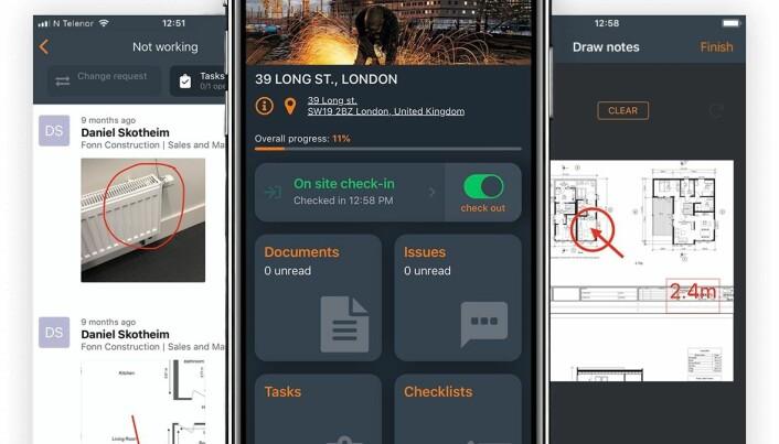 Screenshot fra Byggemappen-appen.