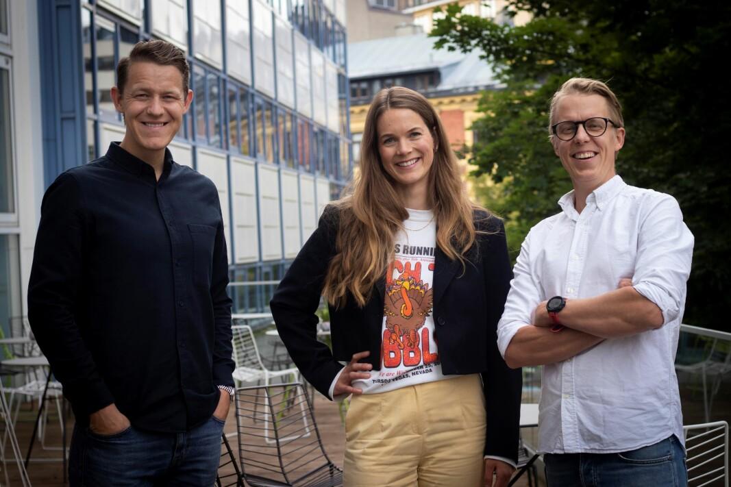 Eirik Husby Dyrset, Maria Utseth Christoffersen og Petter Arlehed i det nye helseteknologi-byrået Yallow Life Science.