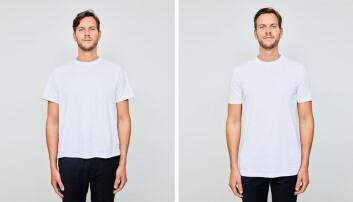 Til venstre er en vanlig t-skjorte, til høyre er MediumTalls skjorte.