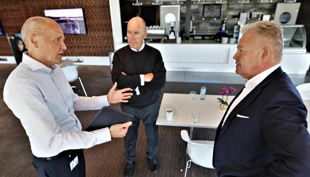 F.v. Sigve Brekke, CEO Telenor, Tor W. Andreassen professor ved NHH og leder av DIG-senteret og Helge Leiro Baastad, konsernsjef i Gjensidige.