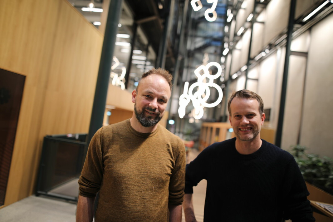 Ådne Skjelstad, daglig leder i Svosj og Mats Staugaard, daglig leder i KickBack