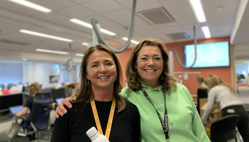 Direktør for distribusjon i Schibsted, Cathrine Laksfoss og Konsernsjef Kristin Skogen Lund ved lanseringen av Svosj.