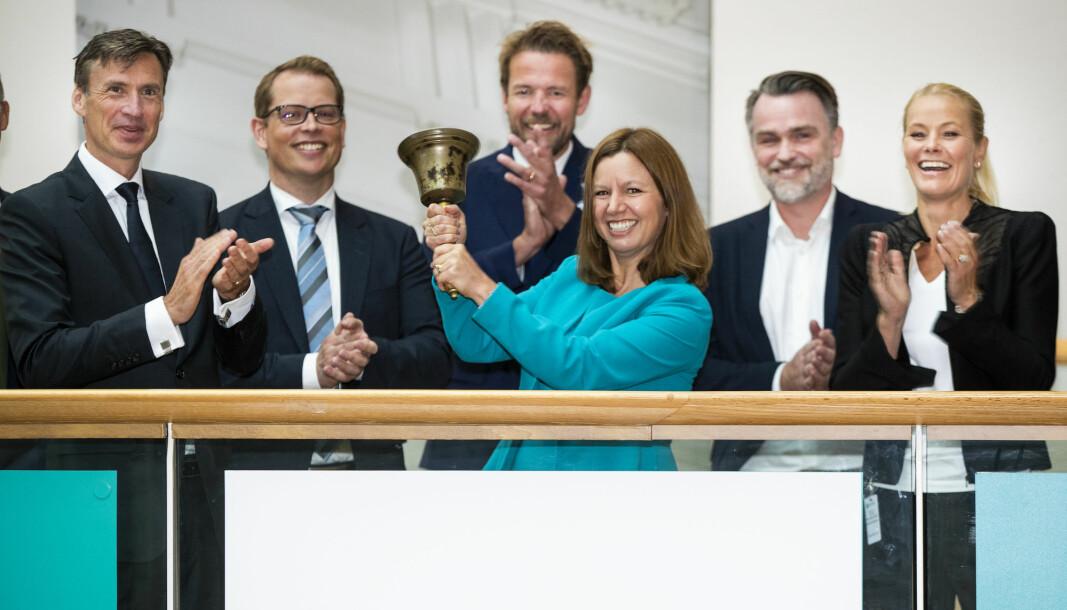 Oslo 20200826.  Aker Offshore Wind med direktør Astrid Skarheim Onsum ble notert på Oslo Børs (Merkur Market) med en bjelleseremoni. Foto: Terje Pedersen / NTB