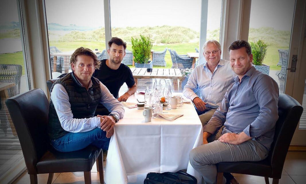 Ivar Line (f.v.) og Nicola Andelíc i My Voice sammen med sine nye investorer i ProVenture, Herbjørn Skjervold og Borgar Ljosland.