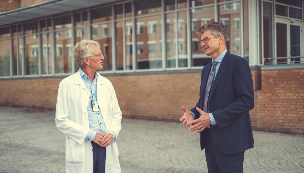 Rune Frisvold, COO i Lifecare (t.h), og Kåre I. Birkeland, Chief Medical Officer (CMO) Lifecare og professor ved Avdeling for transplantasjonsmedisin ved Institutt for klinisk medisin, Rikshospitalet.