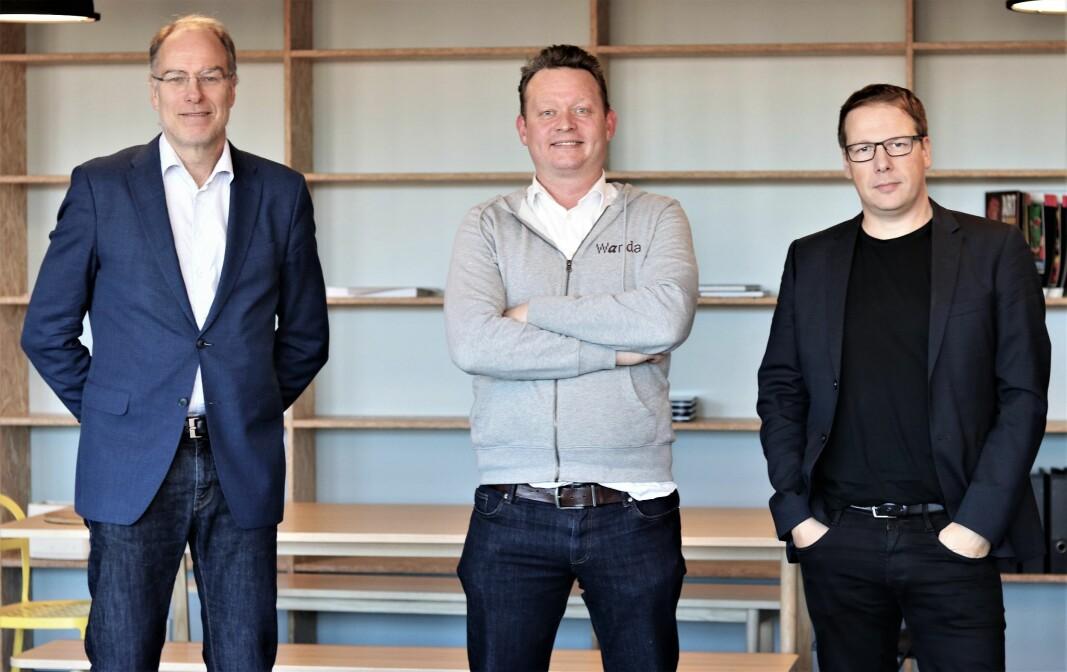 F.v. Einar Kirkebø i Posten, Lars Syse Christiansen i Wanda og Tom Arnøy i Proventure.