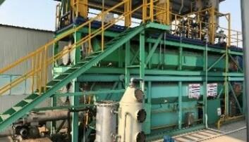 Pyrolyseanlegg som behandler kjemisk slam i Penglai, Kina.