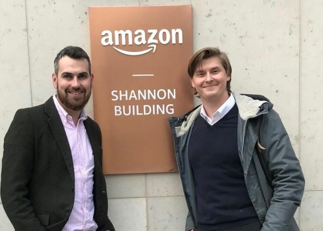 Det ferske byrået Markitekt rådgir norske bedrifter som vil forstå Amazon. Her ved selskapets ansatte i Storbritannia, Jonathan Griffith (t.v.) og gründer og daglig leder Stian Hexeberg.