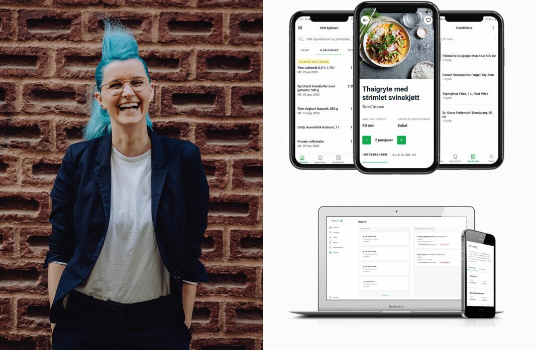 Charlotte Aschim og TotalCtrl med appen til forbrukerne øverst og systemet for restauranter nederst.