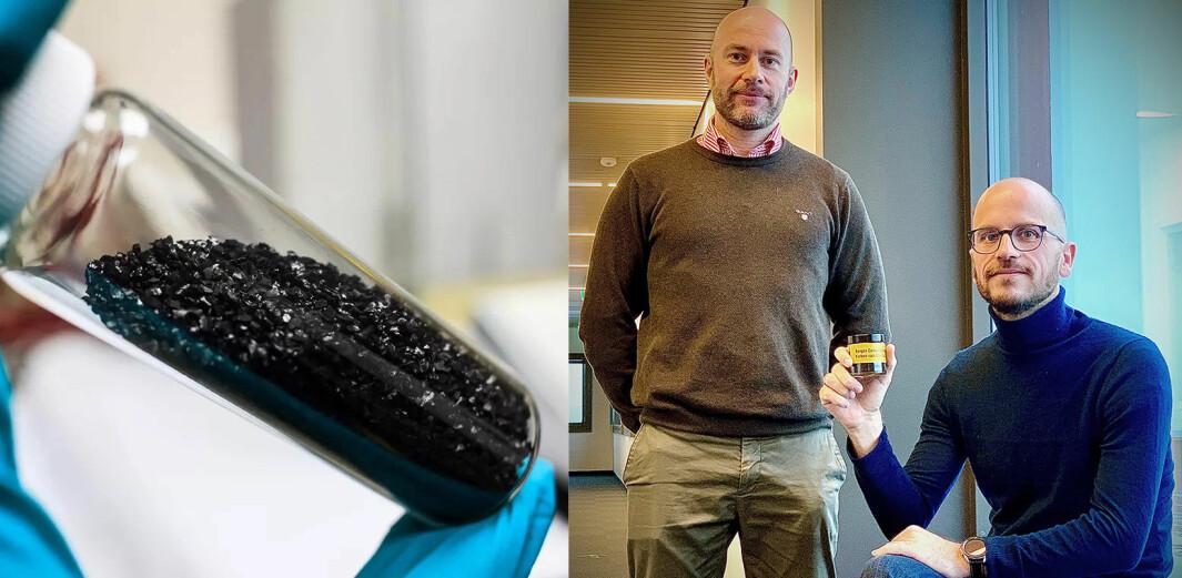 Finn Blydt-Svendsen (t.v.) og Jan Børge Sagmo i Bergen Carbon Solutions.