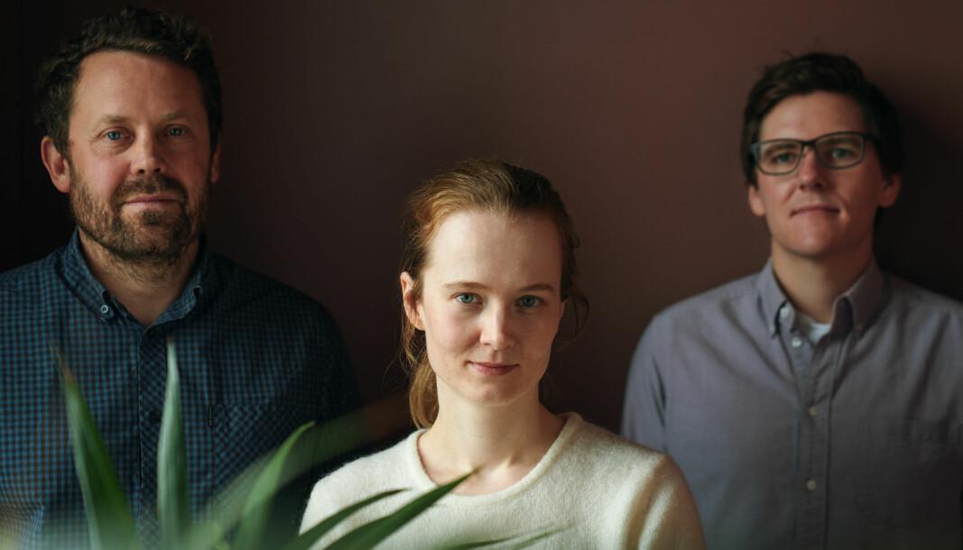 Strise har utvidet kundelisten i løpet av det siste halvåret. Her de tre gründerne fr. v. Sigve Søråsen (leder for produkt), Marit Rødevand (daglig leder) og Patrick Skjennum (leder for teknologi).